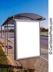 Blank advertising poster board at city bus stop