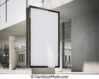 Blank advertising stand on office street. 3d rendering