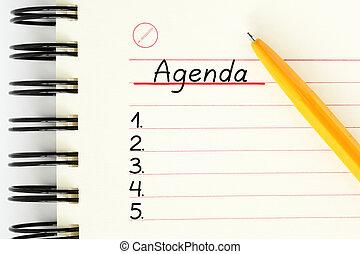 Blank Agenda Planner List Concept