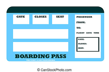 Blank aircraft boarding pass with copy space, isolated on...