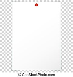 Blank album clean empty sheet paper A4 red pushpin - Vector...