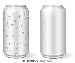 Blank aluminium can for lemonade or beer.