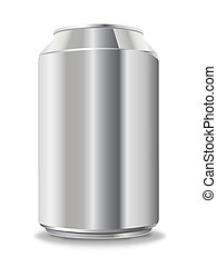 Blank aluminum can isolated on white