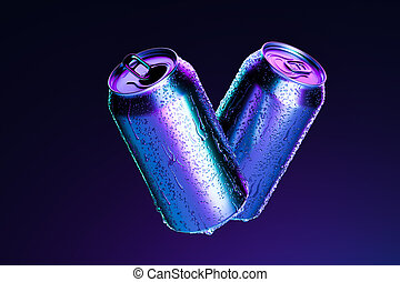 Blank Aluminum Cans With Cold Water Droplets Isolated on Dark Blue Background, 3d rendering. Empty Space. Copy Space