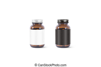 Blank amber glass pill can with black, white label mockup - ...