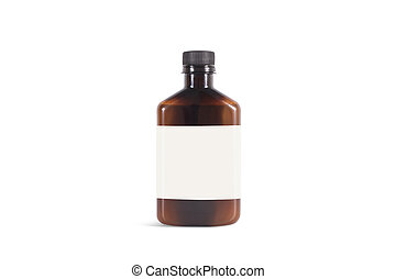 Blank amber plastic bottle with white label mockup, isolated