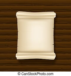 blank ancient scrolls on dark wooden background. vector