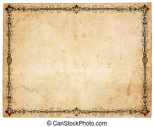 Blank Antique Paper With Victorian Border - Aged, yellowing...