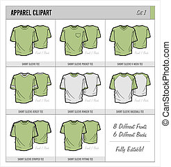 Blank Apparel Templates - Set 1 - These blank apparel...