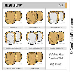 Blank Apparel Templates - Set 3 - These blank apparel...
