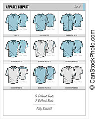 Blank Apparel Templates - Set 4 - These blank apparel...