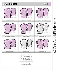 Blank Apparel Templates - Set 5 - These blank apparel...