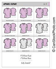 Blank Apparel Templates - Set 5 - These blank apparel...