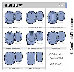 These blank apparel clipart templates are great for mocking up apparel designs. These can be used by screen printers, embroiderers, designers, etc. They are great for showing designs to clients for approval before production.
