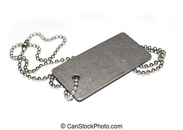 Blank army dogtag isolated on white background