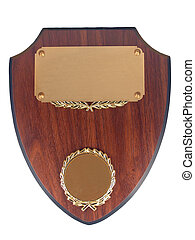A beautiful Blank Walnut Award plaque, over white