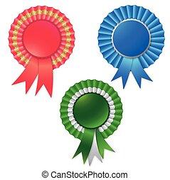 Blank award ribbon rosette for winner isolated on white. ...