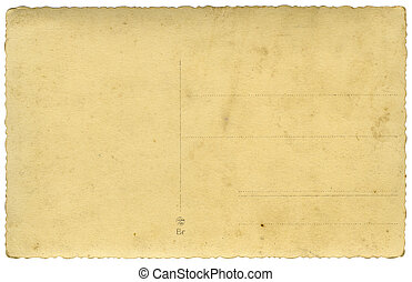 blank backside of vintage postcard with shaped edges; isolated on white, clipping path included