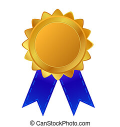 blank badge golden with blue ribbon at transparent