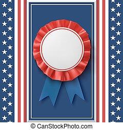 Blank badge. Patriotic award ribbon on abstract background.