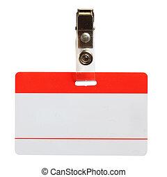 Blank badge close-up isolated over white background