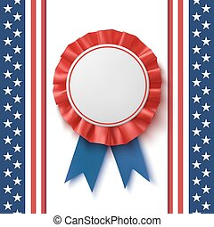 Blank badge. Realistic, patriotic, blue and red label with ribbon.