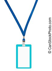 Blank badge with blue neckband. Vector illustration