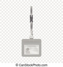 Blank badge with neckband mockup. Realistic illustration of blank badge with neckband vector mockup for web