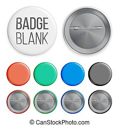 Blank Badges Set Vector. Realistic Illustration. Clean Empty Pin Button Mock Up. White, Blue, Red, Black, Green. Isolated.