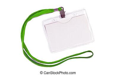 Blank bagde mockup with green ribbon