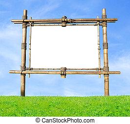Bamboo Billboard - Blank Bamboo Billboard On A Green Hill...