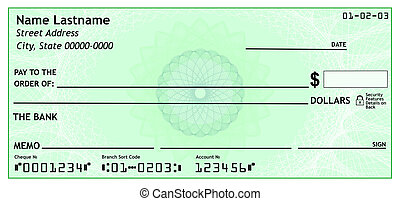 Blank bank check, 3D rendering