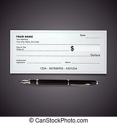 blank bank check template and pen isolated on black