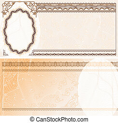 Blank layout for banknote, bank check or voucher with obverse and reverse
