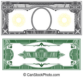 Blank banknote layout with obverse and reverse based on...