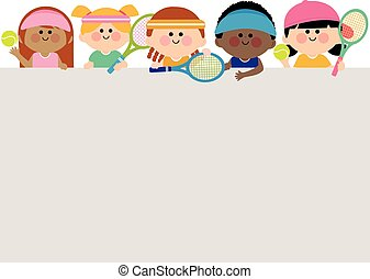 Blank banner and kids tennis players. Vector illustration