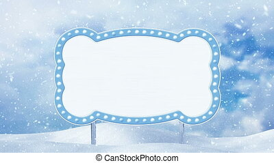 blank banner and winter landscape loop - blank banner and...