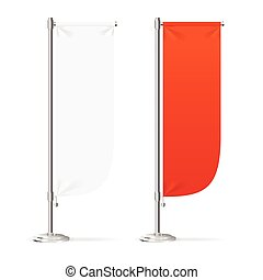 Blank Banner Flag Red and White Set. Vector