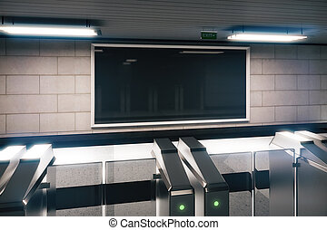 Blank banner in empty subway, mock up