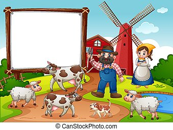 Blank banner in farm with red barn and windmill scene