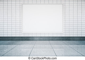 Blank banner in metro interior - Blank framed banner in ...