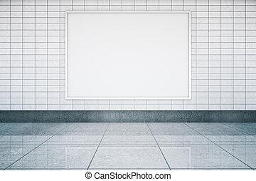 Blank banner in metro interior - Blank framed banner in...