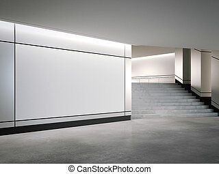 Blank banner on the silver wall. 3d rendering