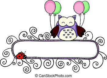 Blank banner with cute owl holding balloons