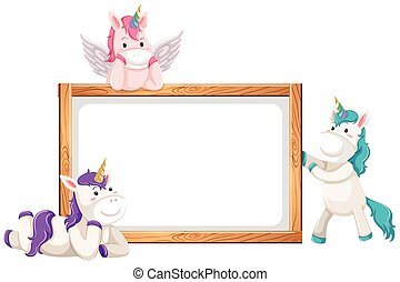 Blank banner with cute unicorns isolated on white background