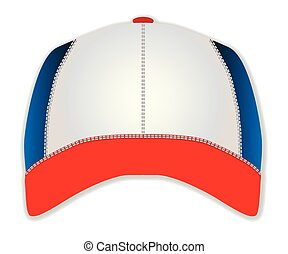 Blank Baseball Cap - A red white and blue typical baseball...