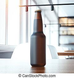 Blank beer bottle on the table. 3d rendering