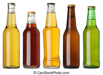 Blank beer bottles - Photo of five different full beer...
