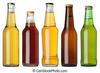 Blank beer bottles - Photo of five different full beer ...