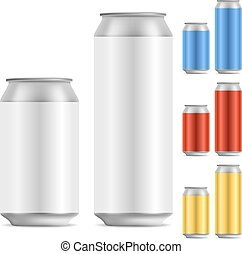 Blank beer of soft drink aluminum can vector template with color variants.